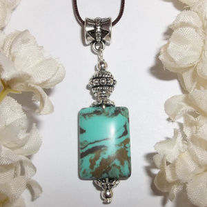 Necklace Turquoise Green Brown Adjustable NWT 4813
